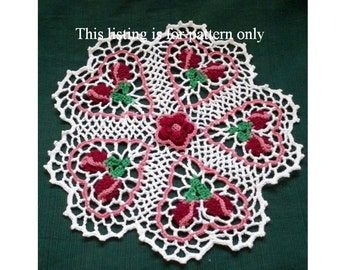 crochet doily pattern: rose budding hearts PDF file, Valentine crochet pattern, thread crochet doily pattern, home decor diy, room decor diy