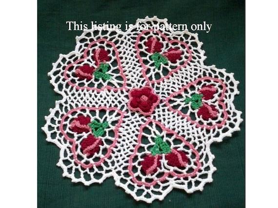 Crochet Doily Pattern Rose Budding Hearts Pdf File Valentine