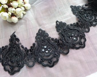 Black Alencon Sequins Lace, Vintage Scalloped Beaded Trim, Wedding Veils Edge Lace, Bridal Dress Fabric by the yard