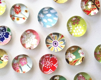 OOPS- slightly second quality - Mixed Bag- set of 4 or 8 Glass Magnets - Japanese Chiyogami paper - assorted designs- colorful pretty floral