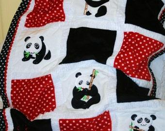 "Panda Appliqued Minky Baby Blanket , ""Precious Panda"""