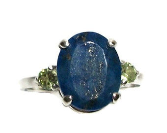 """Lapis, lapis ring, lapis accent ring, blue multistone ring, mothers ring, blue green, s 7 1/2  """"Blue Lagoon"""""""