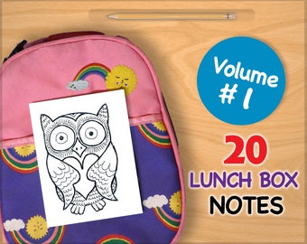 Vol 1 LUNCH BOX NOTES for Kids 20 Assorted Printable Cards Drawings Inspirational School Printables Art for Boys and Girls Lunchbox Letters