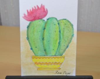 Original ACEO Watercolor Painting - Desert Cactus Blossom