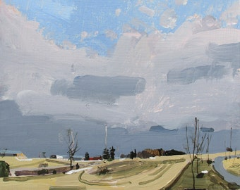 March Evening, Original Winter Landscape Painting on Panel, 8 x 8 Inches, Stooshinoff