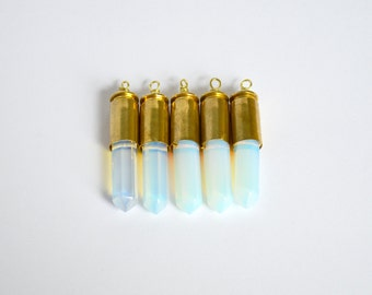 Opal quartz crystal point brass .40mm bullet shell casing pendant necklace / key chain / pendant only