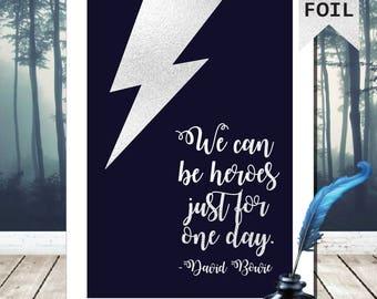 A4/A3 David Bowie Lyrics Print - Silver Foil Print - Ziggy Stardust Wall Art - David Bowie Poster - David Bowie Art - David Bowie Print