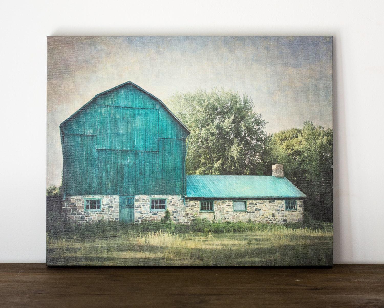 Blue Barn Canvas Art Rustic Wall Decor Farm Photography
