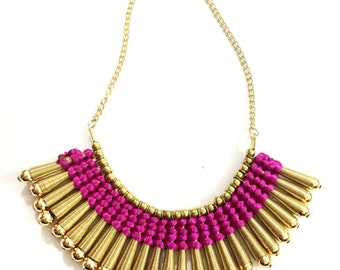 Gold Fringe Necklace,Pink and Gold Bib Necklace,Statement Jewelry,Wedding Jewelry,Fall Statement Necklace by Taneesi