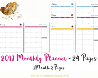 Calendar - 2017 ,12 months each 2 page spread, Potrait, Printable Planner PDF, Daily Planner Pages, Instant Download