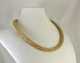 Gold Lined Crystal Bead Crocheted Rope Necklace