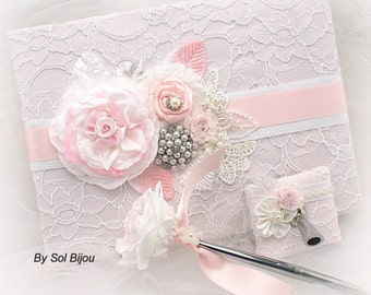 Baby Shower Guest Book White Pink, Christening Signature Book, Baby Girl Book, Sign In Book for Baby Girl, Baby Shower Gift