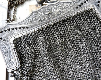 Antique Mesh Chainmaille Purse, Art Nouveau Flapper Embellishment, offered by RusticGypsyCreations