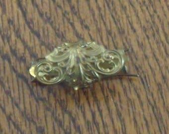Victorian style Lacy Gold Barrette
