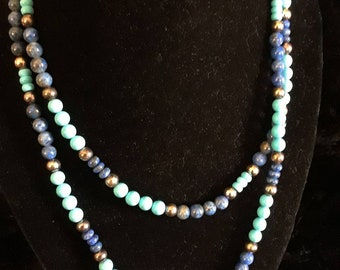Turquoise and lapis bead necklace