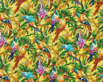 BTY Spectrix Parrots Birds TROPICAL PARADISE  Print 100% Cotton Quilt Craft Fabric by the Yard