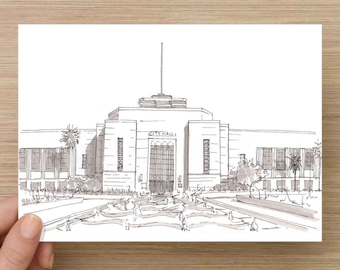 Ink Drawing of the Santa Monica City Hall - Art Deco, PWA Moderne, Architecture, Symmetry, Sketch, Art, Pen and Ink, 5x7, 8x10