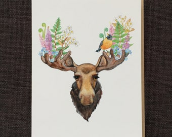 The Moose and The Robin / Notecard / Blank Inside / FREE SHIPPING
