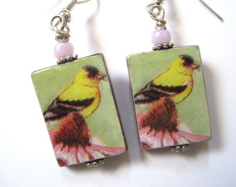 The Goldfinch. Mother of Pearl Shell Earrings. Handmade.