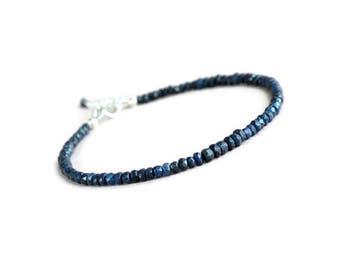 Genuine sapphire bracelet, silver sapphire bracelet, blue bracelet, September birthstone, sapphire jewelry