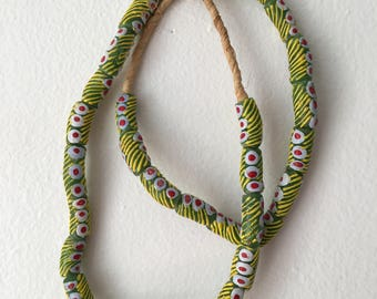 Green, Yellow, White and Red Painted Krobo Glass Beads from Ghana