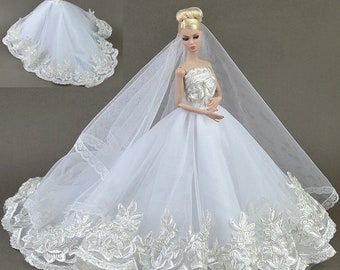 93#Bride in Long Veil Wedding Dress Set-Women Girl's Birthday Christmas Gift DIY Handmade Lace Barbie Doll Dress Princess Evening Party Gown