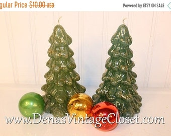 30% OFF SALE Vintage 80's Enesco Christmas Tree Candles Christmas Holiday Decoration 2 PCS