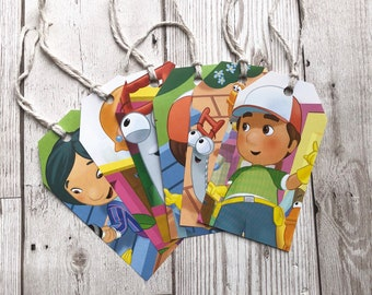 Disney Handy Manny Gift Tags Labels Upcycled Tags Book Page Handmade Recycled Birthday Wedding Baby Shower