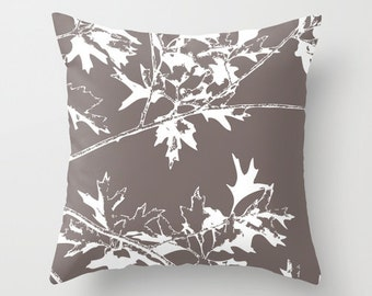 Autumn Leaves and Branches Throw Pillow Cover - Fall Decorative Pillow - Home Decor - Taupe Brown - includes insert