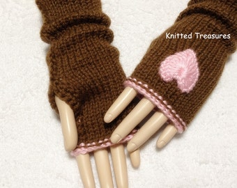 Wool Fingerless Gloves With Hearts And Edge