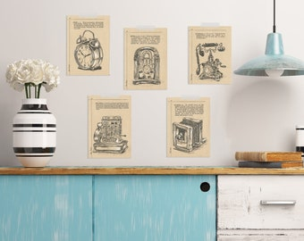 Vintage Style Prints, Bedroom Decor, Art & Collectibles, Rustic Wall Decor, Set Of 5 Prints, Room Decor, Farmhouse decor, Country Home Decor