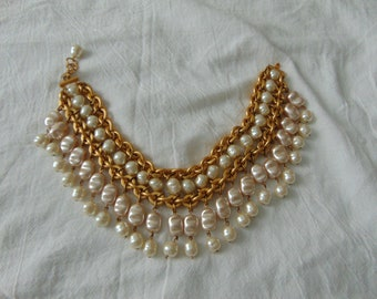 anne klein couture glass pearls bib necklace matte gold plated statement substantial mint signed vintage bold choker