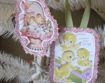 Vintage Easter gift tags paper ornaments cute chicks glitter tags party favors package ties gift wrap vintage card scraps Easter home decor