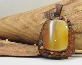 Baltic amber leather, amber jewelry, natural amber, handmade gift