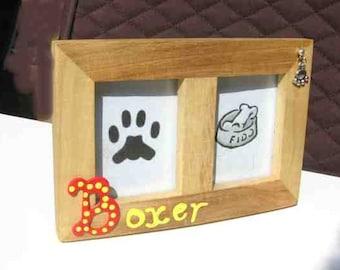 Final Markdown Sale...BOXER Dog Breed Wood Desktop Double Photo Frame w/Pawprint Charm