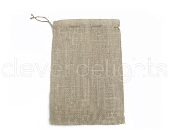 "50 - 8x12 Burlap Bags - Natural Rustic Burlap Bags with Natural Jute Drawstring for Showers Weddings Parties Receptions - 8"" x 12"""