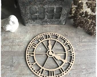 Wooden clock raw 11cm diameter