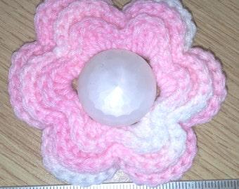 Irish crochet flower brooch in varigated pink