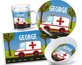 Kids Ambulance Tableware - Custom Kids Plate Set - Personalized Kids Plate - Kids Bowl - Kids Placemat - Dinnerware for Kids - Party Decor