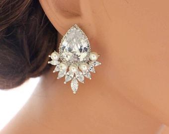 Crystal cluster earrings, large bridal stud earrings, statement wedding earrings, bridesmaid earrings, bridal jewelry, wedding jewelry