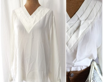 1980s dainty layered collar white blouse / m-l