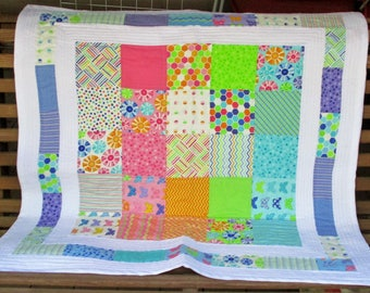 Playful Colorful Baby Quilt - For either gender