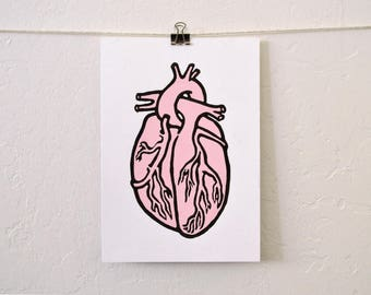 "unique modern art: ""pink heart,""  hand-painted monotype print"