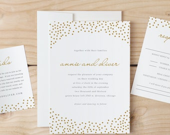 Wedding Invitation Template Download - Gold Dots - Word or Pages MAC or PC - Instant Download - Invitation Printable - DIY