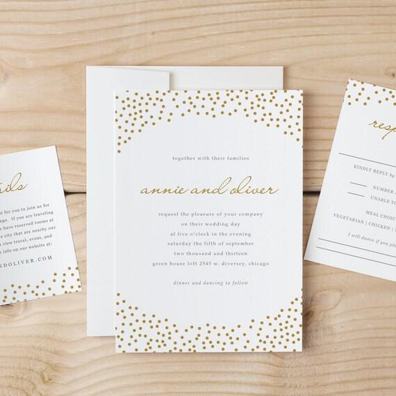 Hochzeit Einladung Vorlage Download goldenen Punkten Wort