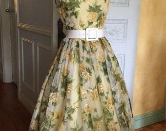 1950s vintage Dress/ 50's Dress/ Yellow Floral Full Skirt Garden Tea Party Dress Wedding