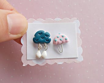 Umbrella Earrings - Funny Earrings - Mismatch Rain Earrings - Cloud Earrings - Stud Earrings - Kids Earrings - Cute  Earrings