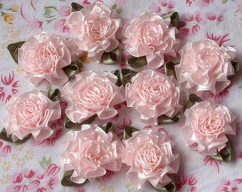 10 Handmade Flowers With Leaves (1-1/4 inches) In Lt Pink MY-021-011 Ready To Ship