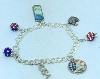 Red White and Blue Patriotic Silver Charm Bracelet
