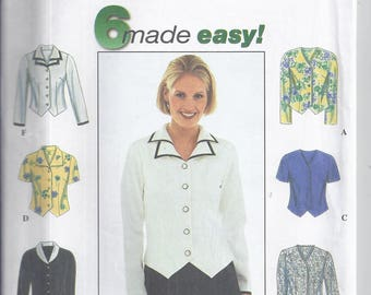 Simplicity Pattern # 8468 from 1998  Misses Blouse with collar variations, short or long sleeves. . Bust 36-40